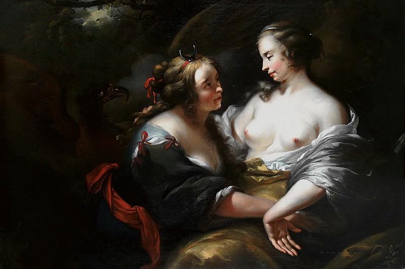 Jupiter, impersonating Diana seduces Callisto. Nicolaes (Claes Pietersz.) Berchem