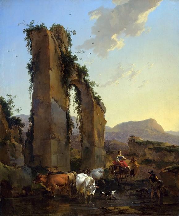 Пейзаж с пастухами и стадом у руин античного акведука. Николас Питерс Берхем