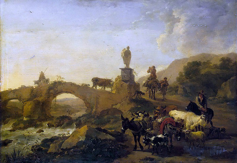 Italian landscape with bridge. Nicolaes (Claes Pietersz.) Berchem