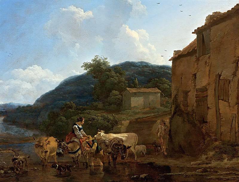 A Landscape With Cattle At A Watering-place. Nicolaes (Claes Pietersz.) Berchem