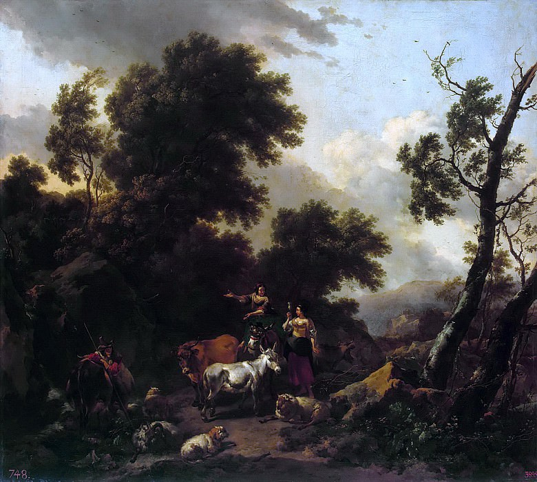 Italian landscape with two girls and a herd. Nicolaes (Claes Pietersz.) Berchem