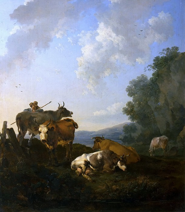 Landscape with Cows and a shepherd. Nicolaes (Claes Pietersz.) Berchem