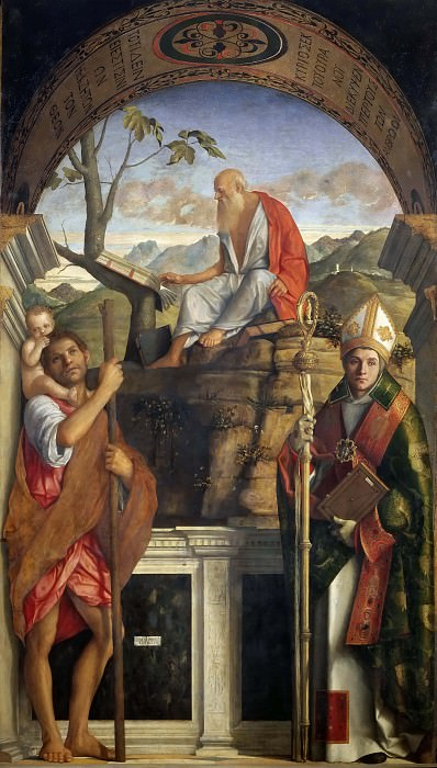 Saints Christopher, Jerome and Louis of Toulouse. Giovanni Bellini