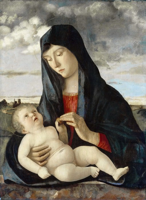 Madonna and Child in a Landscape. Giovanni Bellini