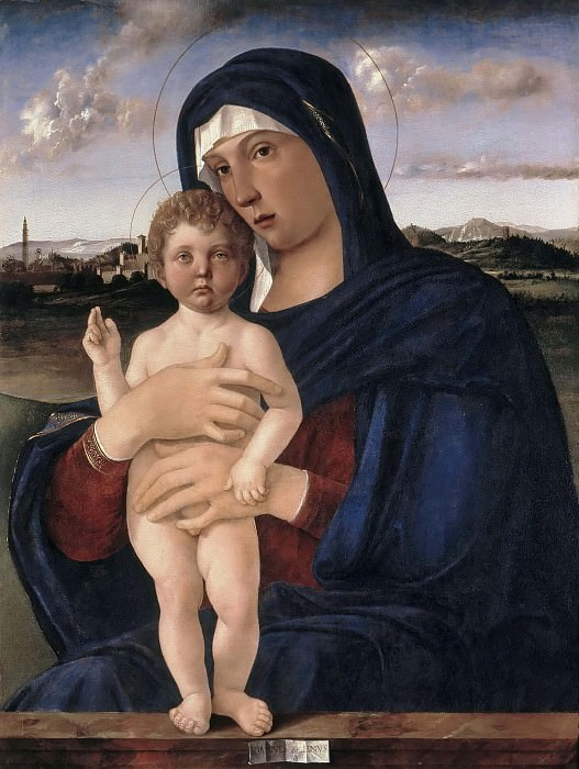Mary with the Jesus, giving a blessing. Giovanni Bellini