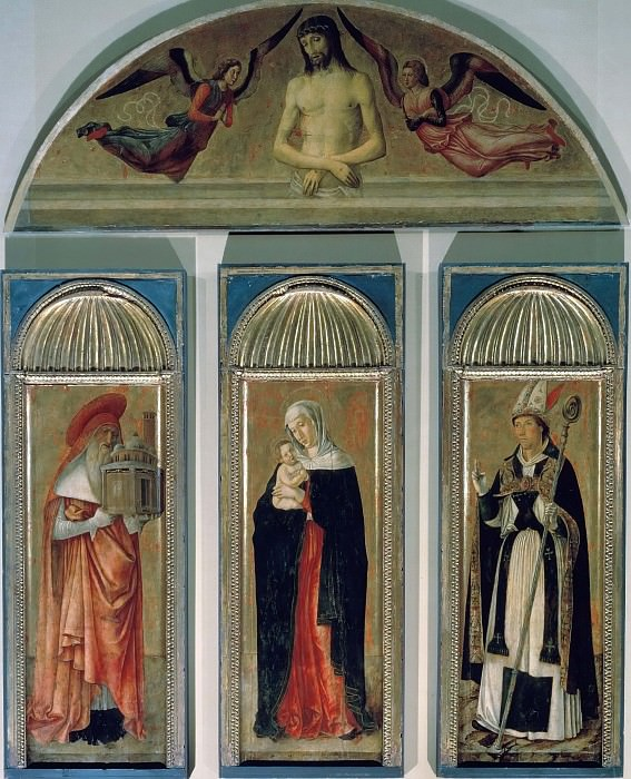 Madonna Triptych (Mary and Child and the Saints Hieronymus and Ubaldus. in the lunette - Man of Sorrows). Giovanni Bellini
