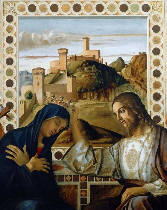 Pesaro Altarpiece, detail - Coronation of the Virgin. Giovanni Bellini