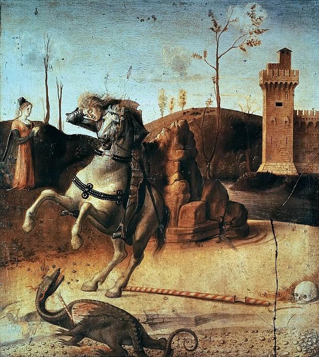 Pesaro Altarpiece, detail - St George killing the dragon. Giovanni Bellini