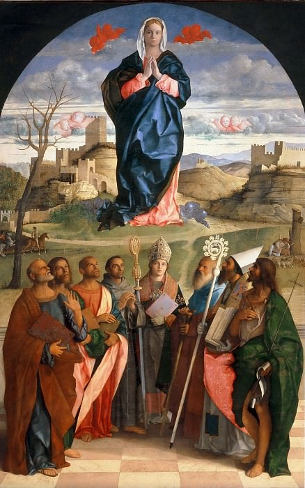 Virgin Mary in glory with the Saints Peter, John the Evangelist, Mark, Francis of Assisi, Louis of Toulouse, Antonius Abbas, Augustine and John the Baptist. Giovanni Bellini