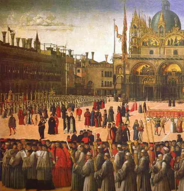 Процессия на площади Сан-Марко, фрагмент. Джентиле Беллини