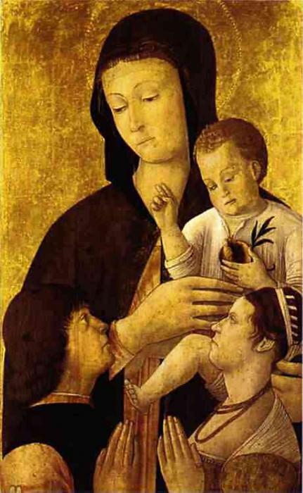 Мадонна с Младенцем и два донатора. Джентиле Беллини