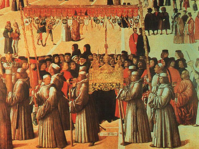 PROCESSION IN THE PIAZZA DI SAN MARCO. Gentile Bellini