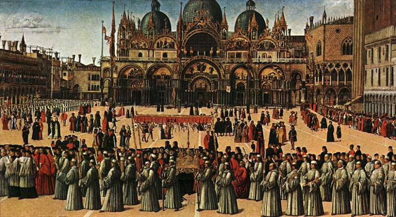 Procession in plaza. Gentile Bellini