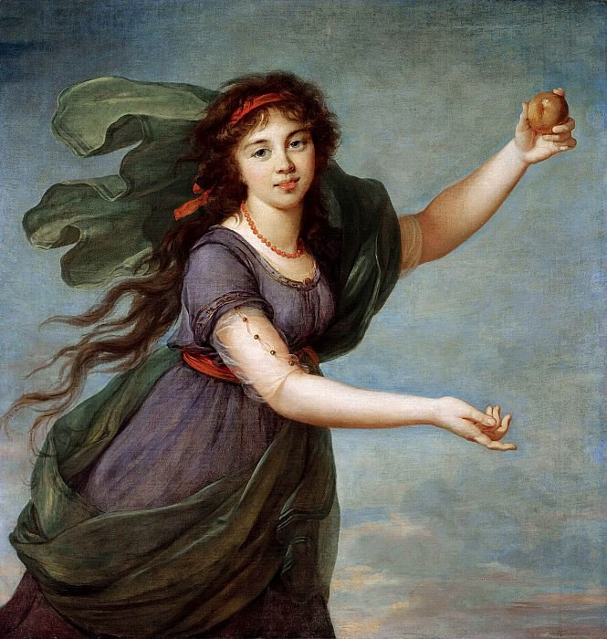 PORTRAIT OF A YOUNG GIRL IN THE GUISE OF ATALANTA, SAID TO BE JEANNE JULIE LOUISE LE BRUN. Élisabeth Louise Vigée Le Brun