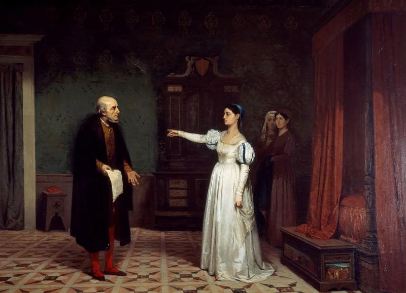 Margherita degli Acciaiuoli sending Giovanni della Palla away. Ferdinando Brambilla