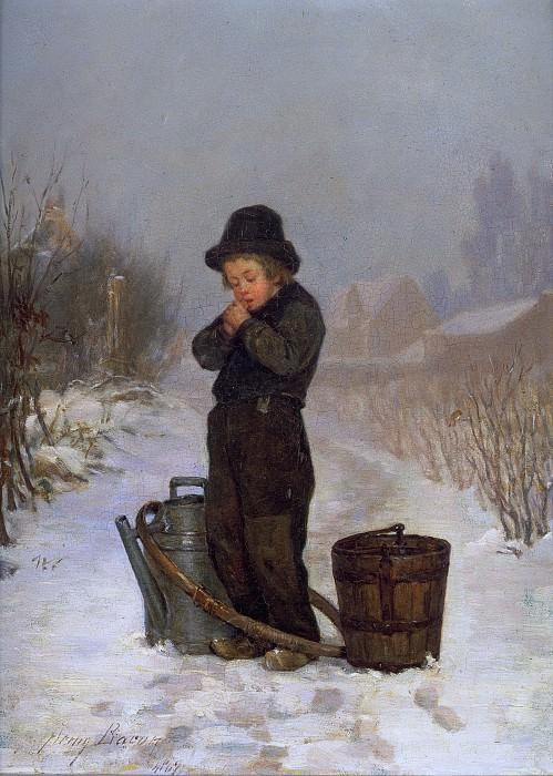 Согревая руки 1867. Генри Бэкон (Warming His Hands)