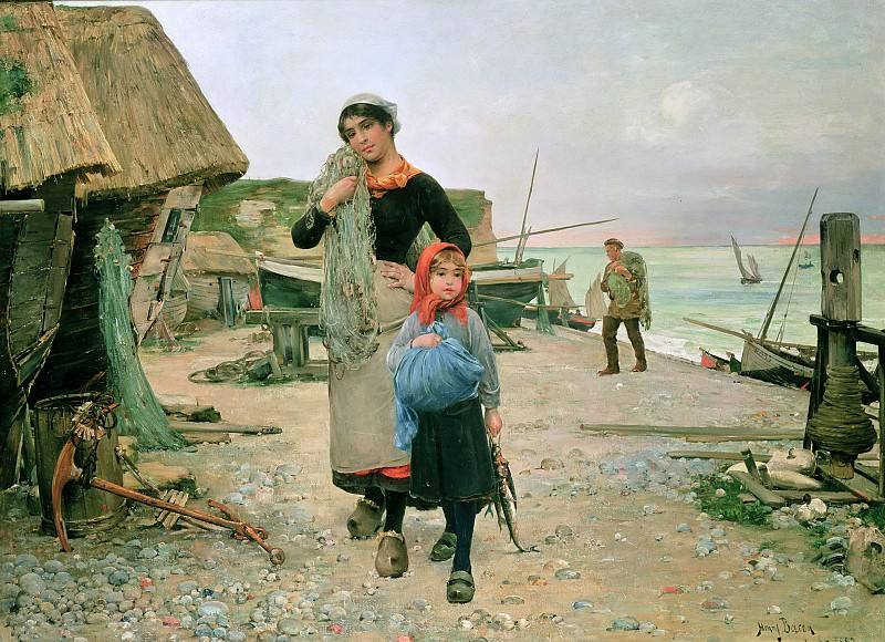 Возвращение рыбаков с их сетями, 1882. Генри Бэкон