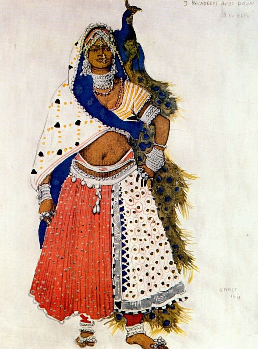 le dieu bleu bayadere with peacock 1912. Leon Bakst