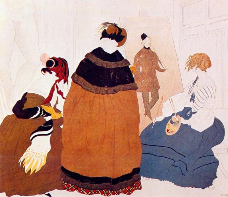 in the artists studio 1908. Leon Bakst