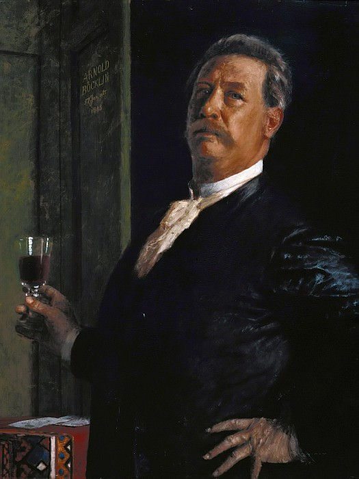 Self-portrait with wine glass. Arnold Böcklin