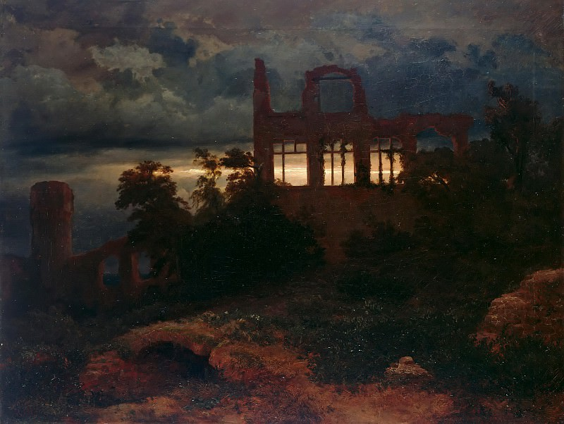 Landscape with castle ruins. Arnold Böcklin