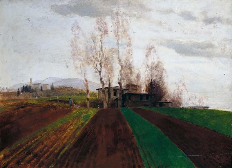 Plowed field in early spring. Arnold Böcklin