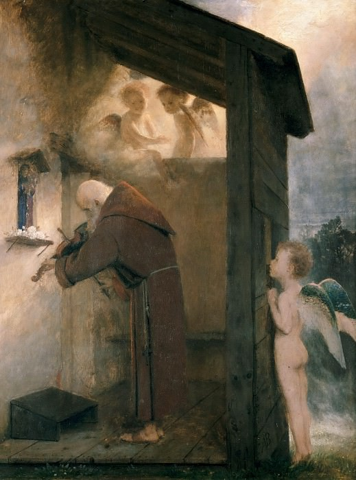 Playing the violin hermit. Arnold Böcklin