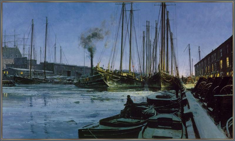 WinterDawnAtBostonsT-Wharf. Christopher Blossom