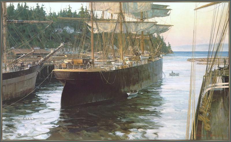 Разворачивание на швартовах в порту Блейкли, 1903. Кристофер Блоссом