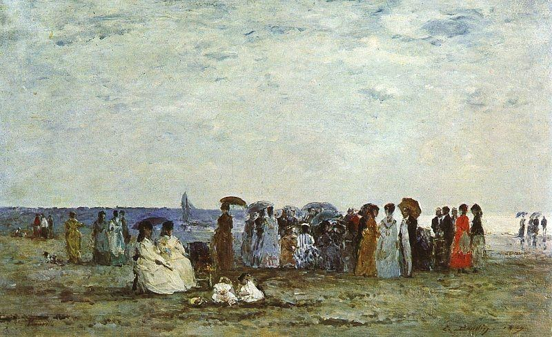 BATHERS ON THE BEACH AT TROUVILLE, 1869, OIL ON WOOD. Eugene Boudin