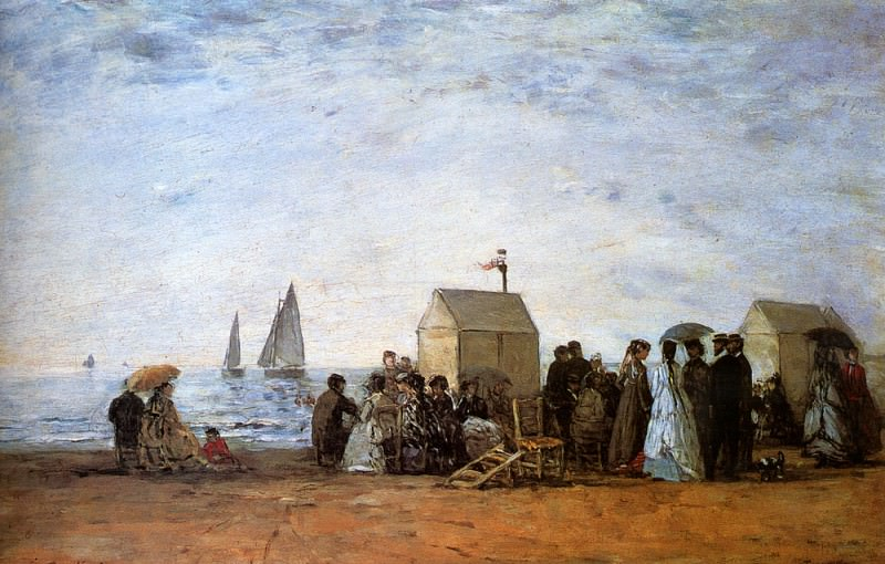 The Beach At Trouville. Eugene Boudin