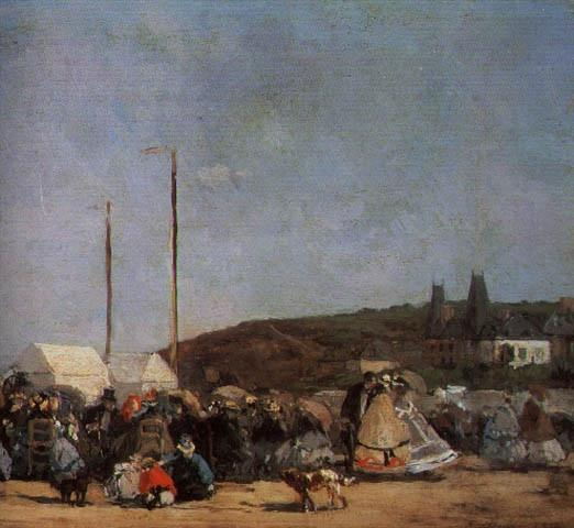 THE BEACH AT TROUVILLE, DETAIL, 1864, OIL ON CANVAS. Eugene Boudin