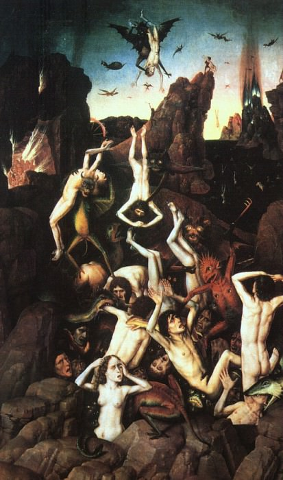 The Fall of the Damned, 1450, oil on wood, Musee de. Dieric Bouts
