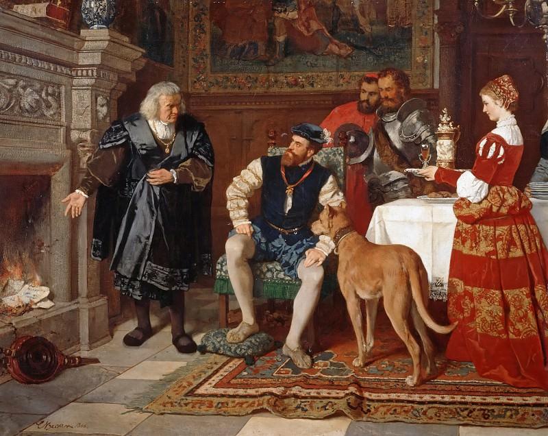 Jakob Fugger burns the notes of Charles V. Carl Ludwig Friedrich Becker