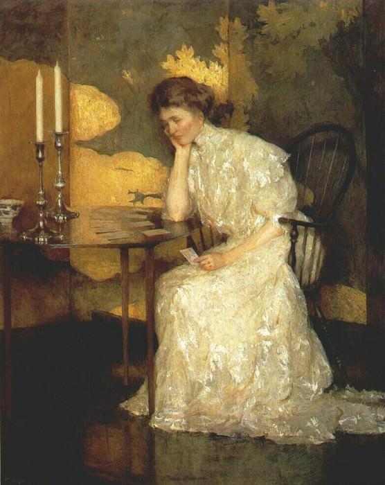 Девушка, раскладывающая пасьянс, 1909. Бенсон Франк Уэстон