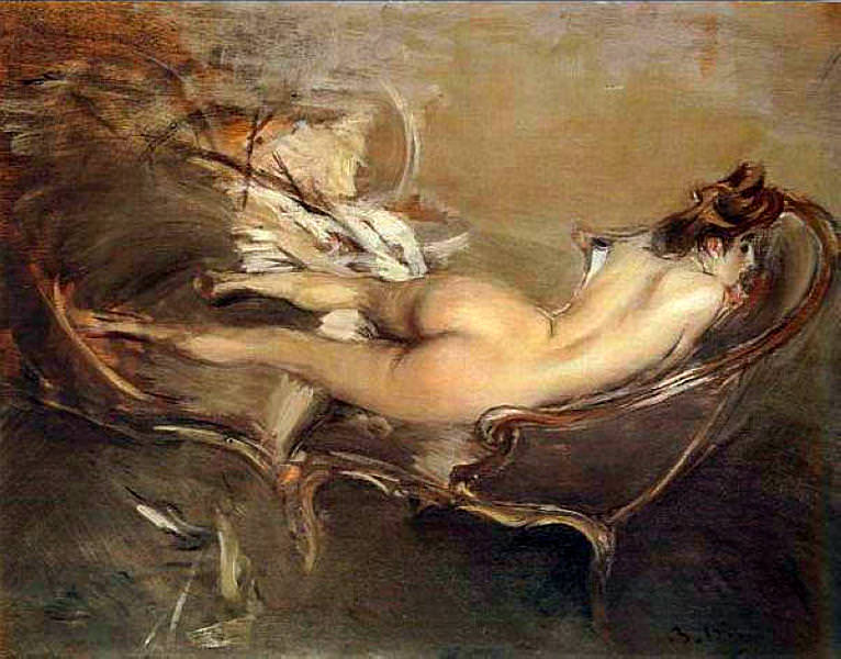 A Reclining Nude on a Day Bed. Giovanni Boldini