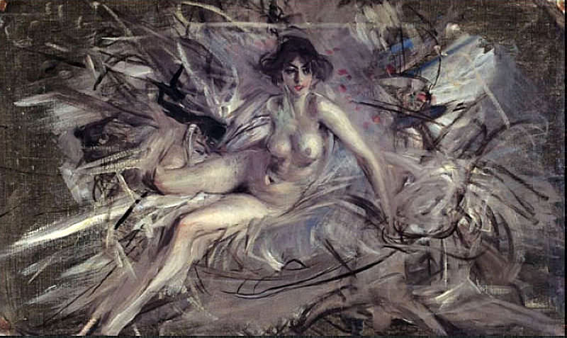 Nude of Young Lady on Couch. Giovanni Boldini