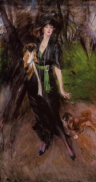 Portrait of a Lady Lina Bilitis with Two Pekinese. Giovanni Boldini