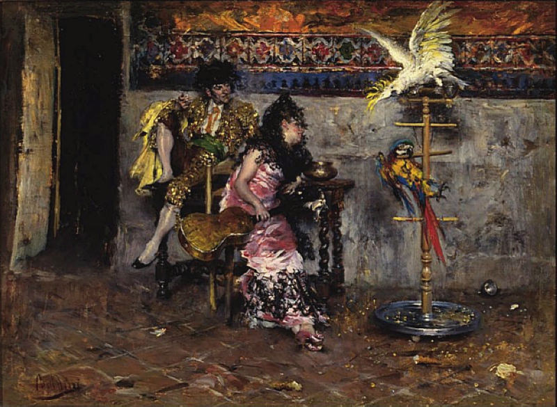 Coppia in Abito Spagnolo con due Pappagalli El matador. Giovanni Boldini