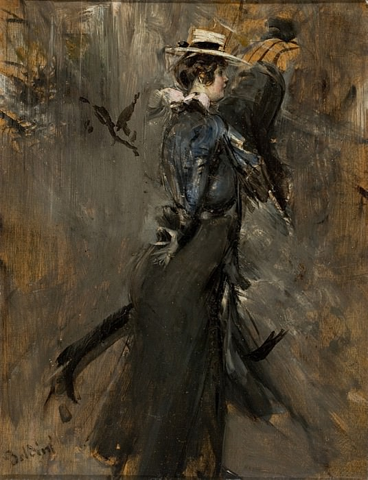 Lady Wearing a Straw Bonnet Morning Promenade 1902 05. Giovanni Boldini