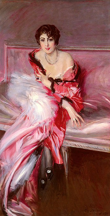 Portrait Of Madame Juillard In Red. Giovanni Boldini