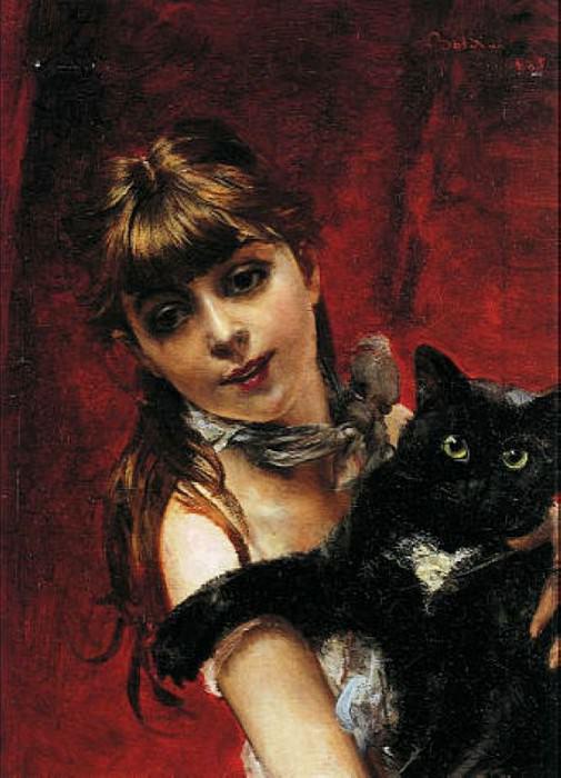 Bambina con il Gatto Nero in Braccio 1885. Giovanni Boldini