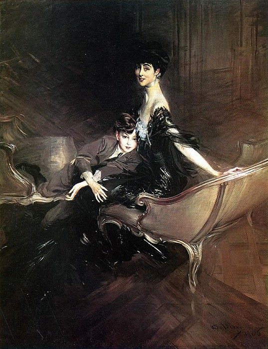 Consuelo Duchess of Marlborough with Her Son Ivor Spencer Churchill. Giovanni Boldini