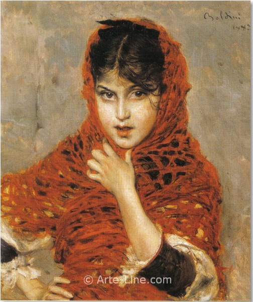 Девочка с красной шалью. Джованни Больдини