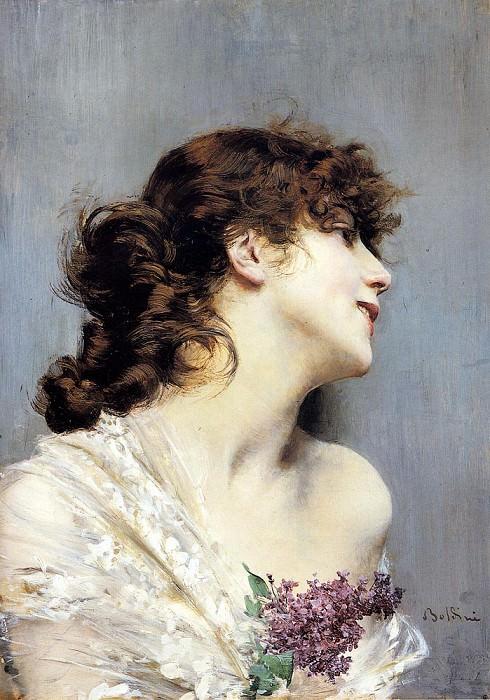 Profile Of A Young Woman. Giovanni Boldini