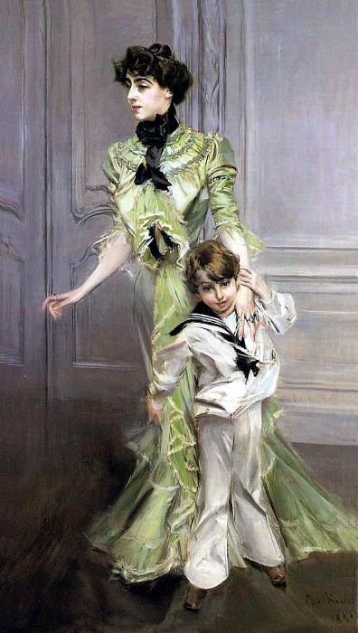 Madame Georges Hugo Jeanne Hugo and Her Son 1898. Giovanni Boldini
