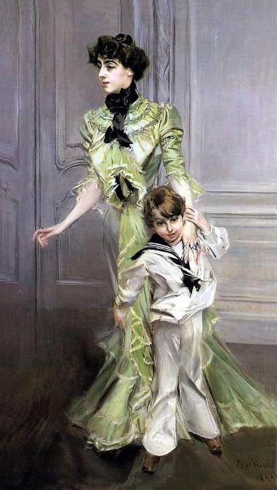 Мадам Жорж Гюго и ее сын Жан Гюго, 1898. Джованни Больдини