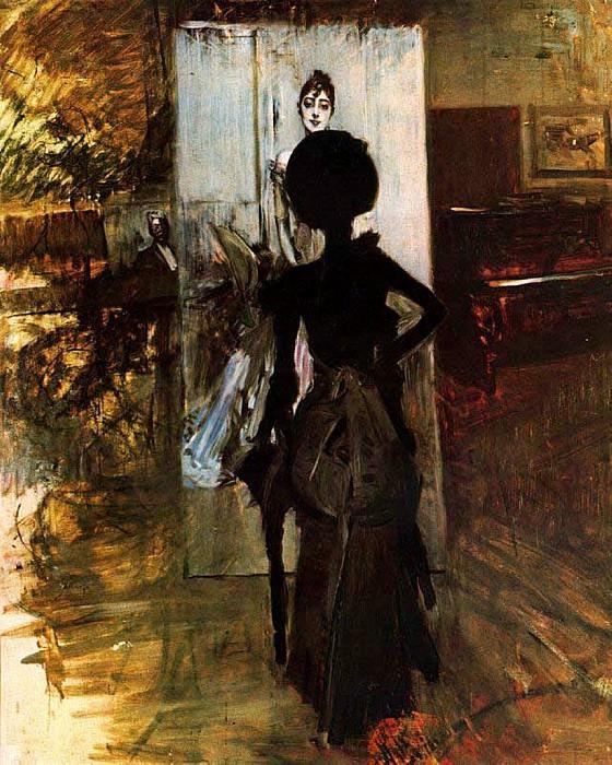 Woman in Black who Watches the Pastel of Signora Emiliana Concha de Ossa 1888. Giovanni Boldini