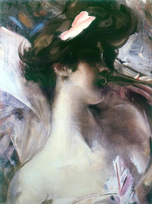 Головка девушки на розовом фоне, 1912. Джованни Больдини