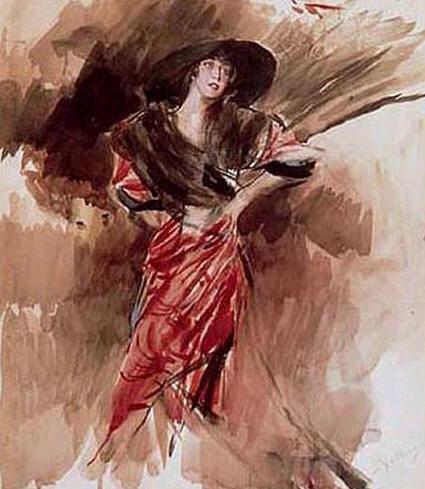 Signora in Abito Rosso 1916. Giovanni Boldini